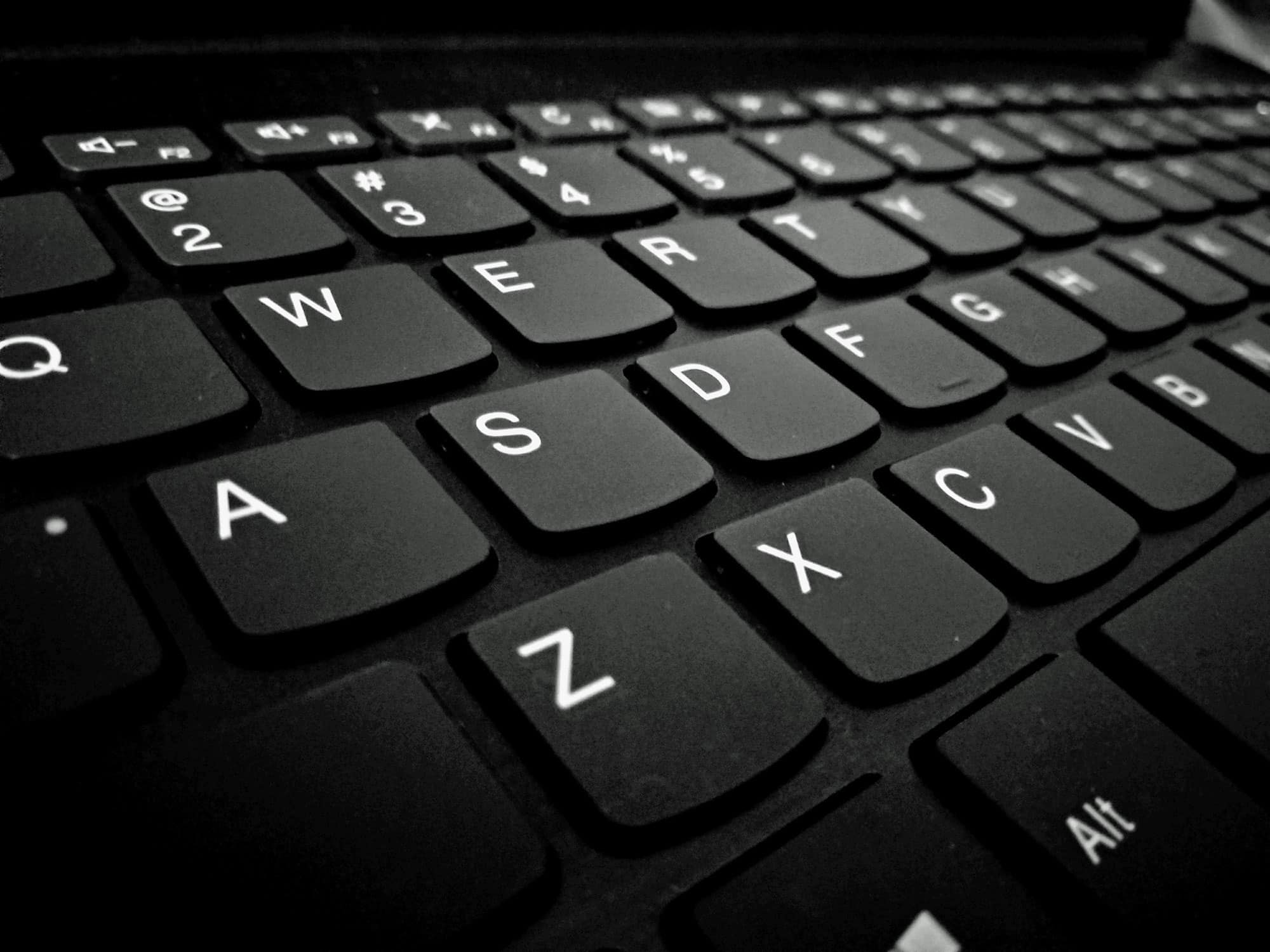 Close up view of a black keyboard