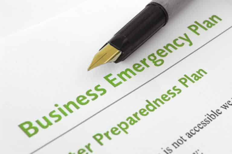 close up view of business emergency plan document