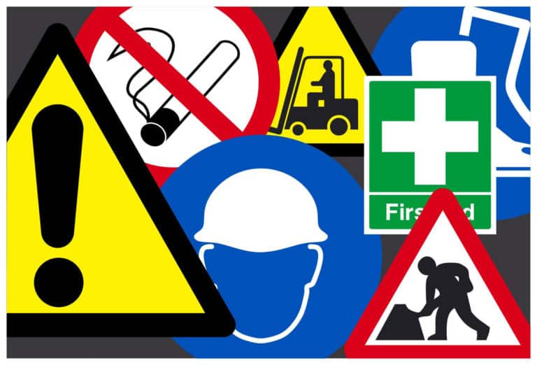 collection of safety signs and symbols