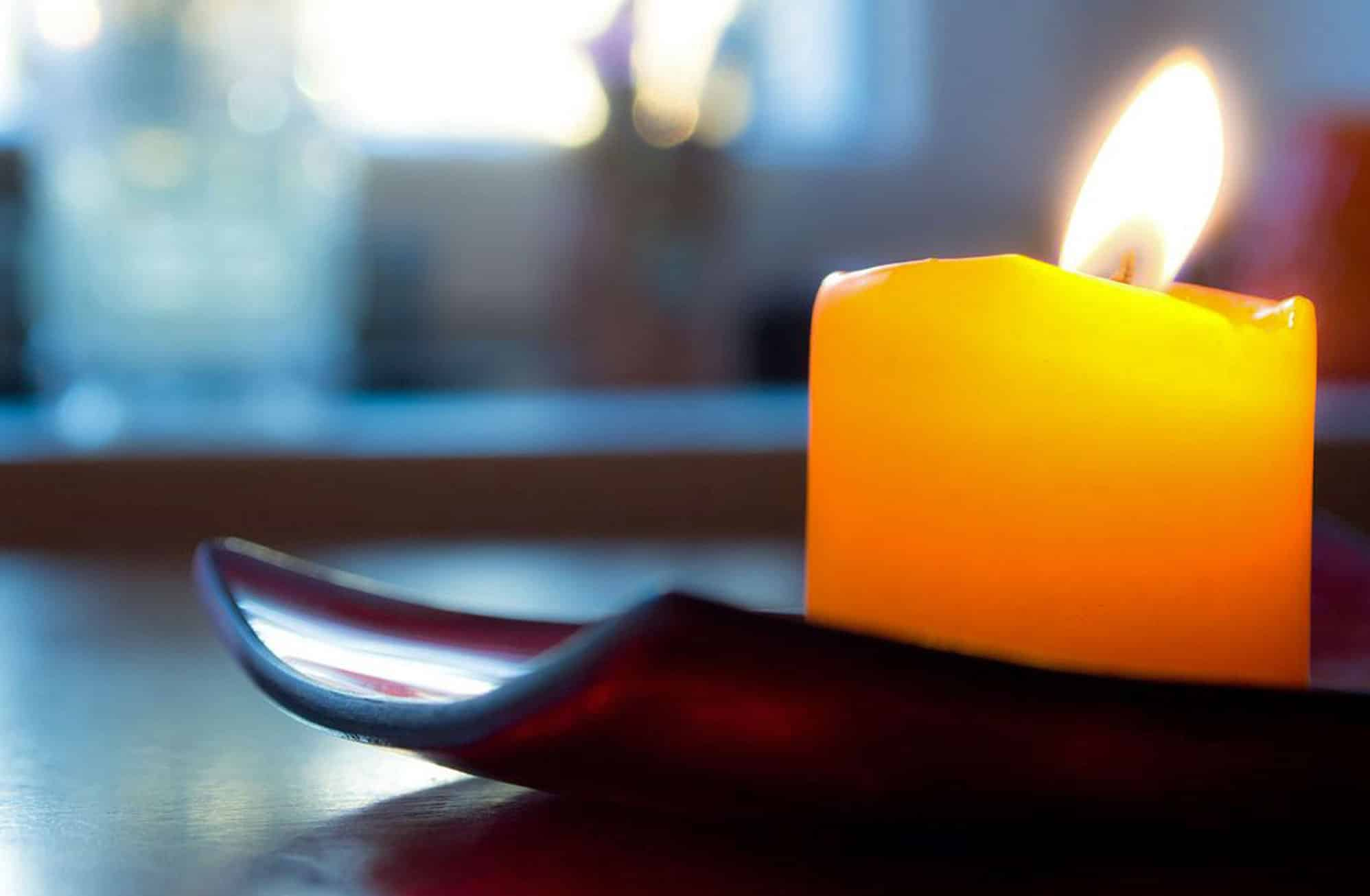 Close up of a lit candle