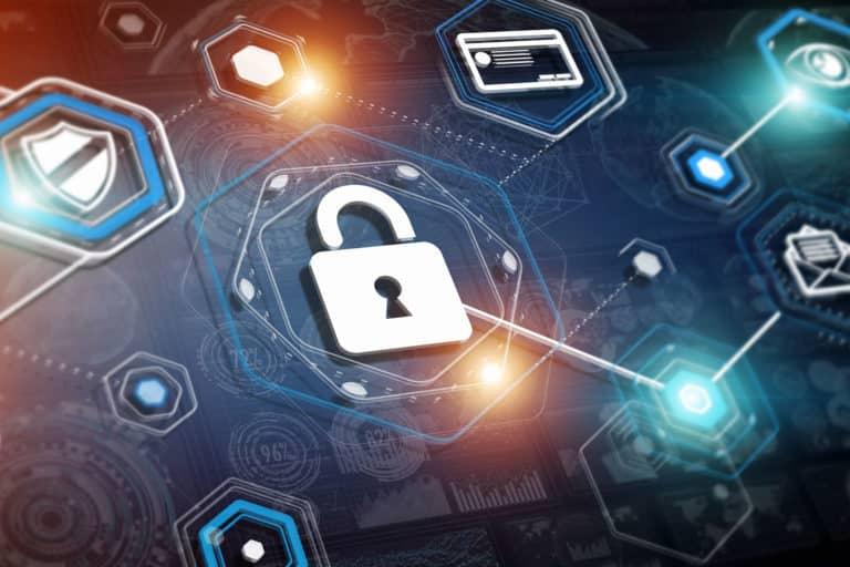 security symbols on a digital background